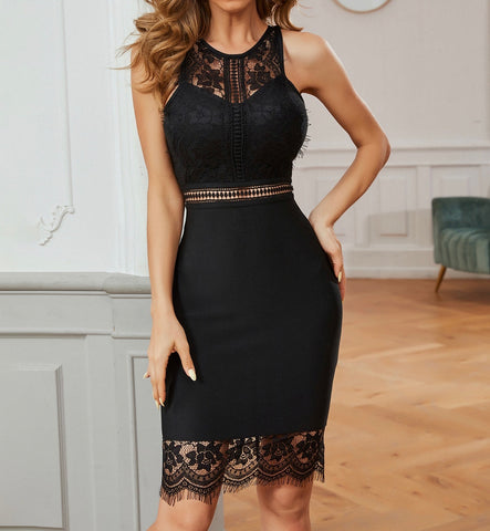 Tatiana Black Lace Frill Midi Sleeveless Dress