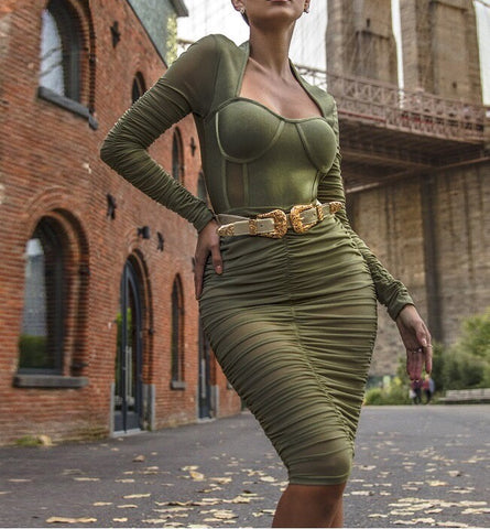 Green Long Sleeve Gathered Mesh Dress