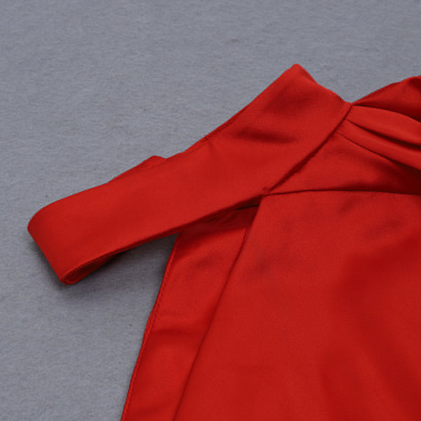Lucy One Sleeve Red Satin Dress