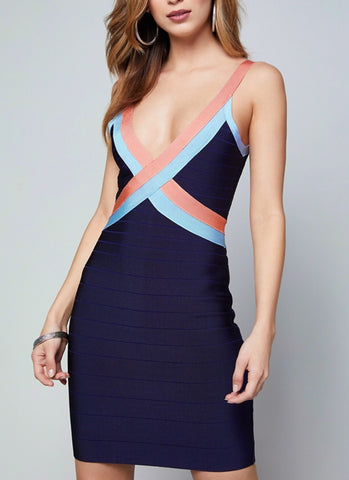 Deborah Dark Blue Bandage Dress
