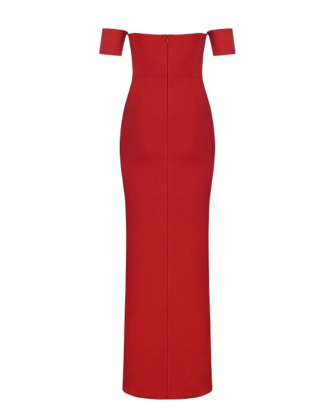 Alaina Red Off Shoulder Maxi Bandage Dress