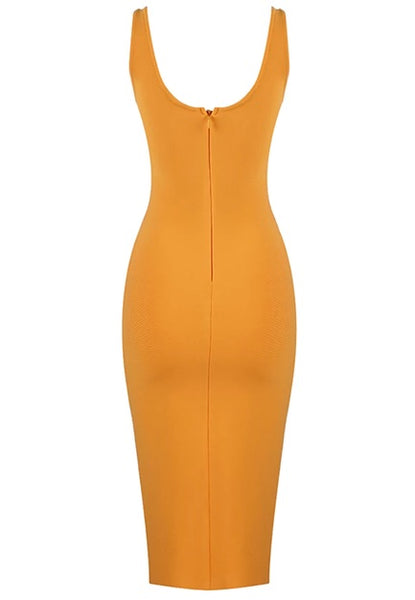 Davina Orange Midi Bandage Dress