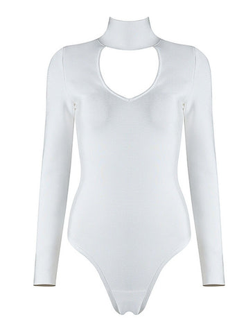 Baylee White Long Sleeve Bodysuit