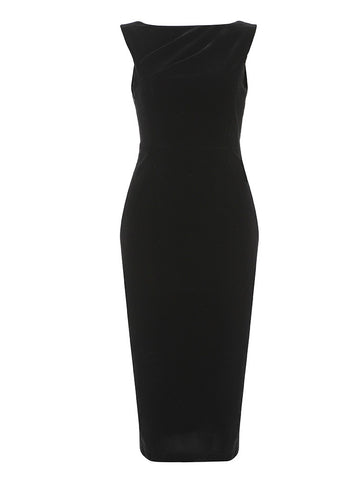 Valentina Black Midi Velvet Backless Dress