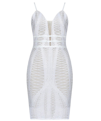 Makenna White Mini Spaghetti Strap Dress