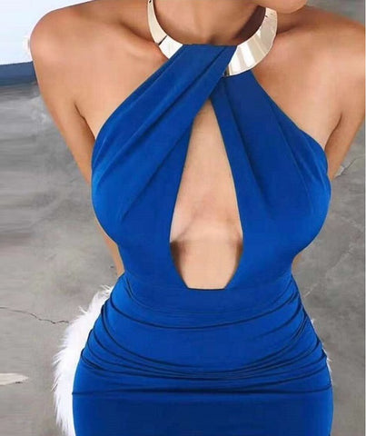 Donisha Blue Deep V-Neck Halter Bandage Dress