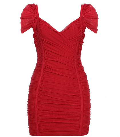 Ophelia Red Short Sleeve Mini Party Bandage Dress With Mesh