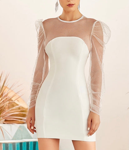 Belle White Mesh Sleeve Mini Bandage Dress