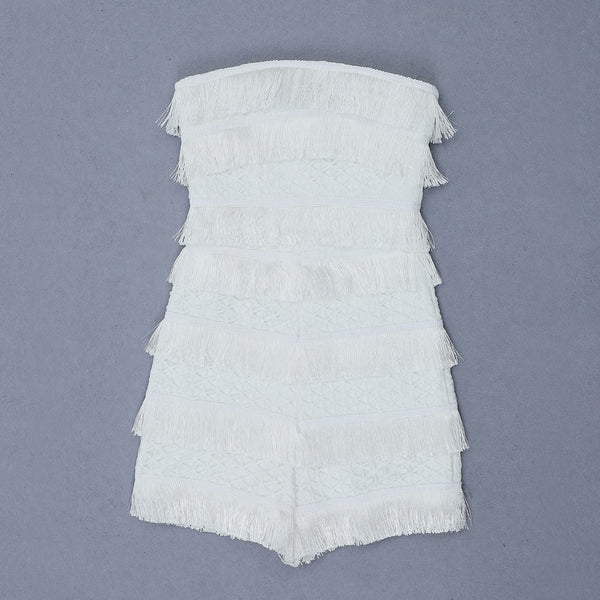 Jaelyn White Strapless Bandage with Tassel Mini Playsuit
