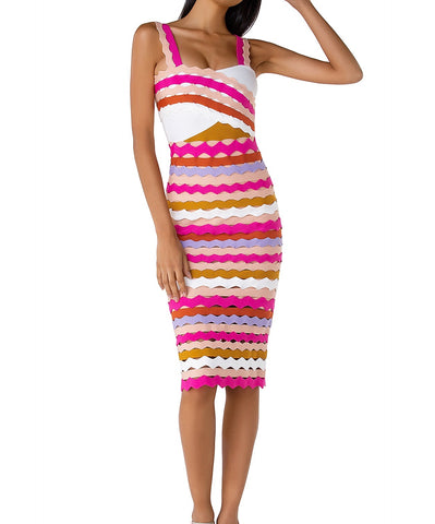 Amirah Colorful Spaghetti Strap Midi Dress with Jacquard Design
