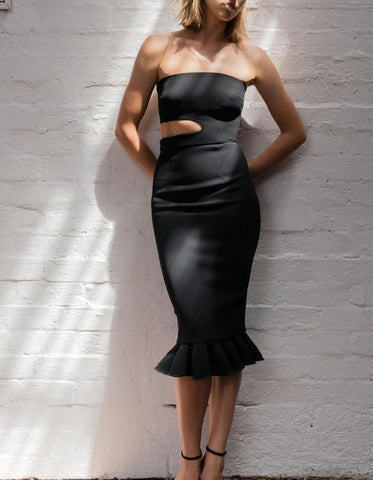 Alyssa Black Cut Out Fluted Hem Bandage Dress