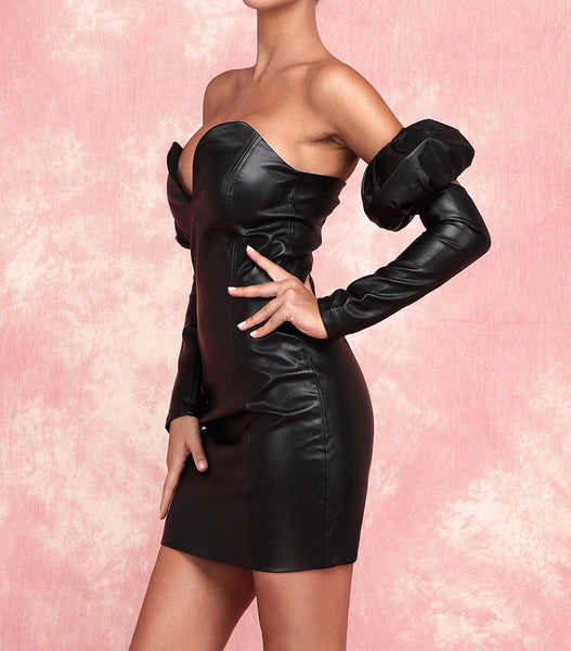Avalynn Black Sexy Mini Leatherette Dress