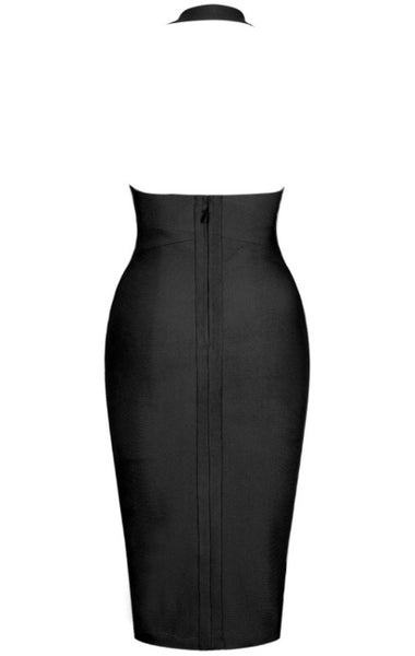 Abena Deep V Neck Black Halter Bandage Dress