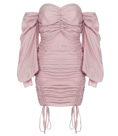 Abby Pink Long Sleeve Bardot Lace Up Front Mini Dress