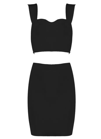 Eilish Mini Black Two Piece Bandage Dress