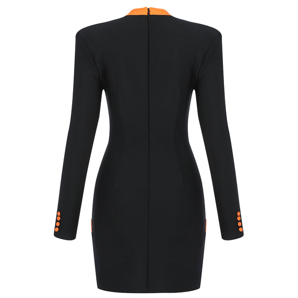 Zoe Long Sleeve Button Detail Mini Dress- Black Orange