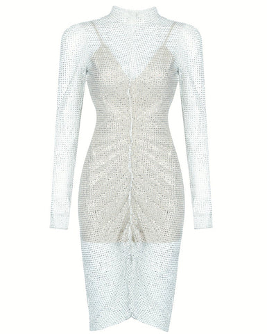 Logan Elegant Long Sleeve Party Mesh Dress With Sequin
