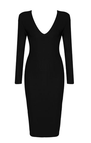 Andi Black Open Back Long Sleeve Dress