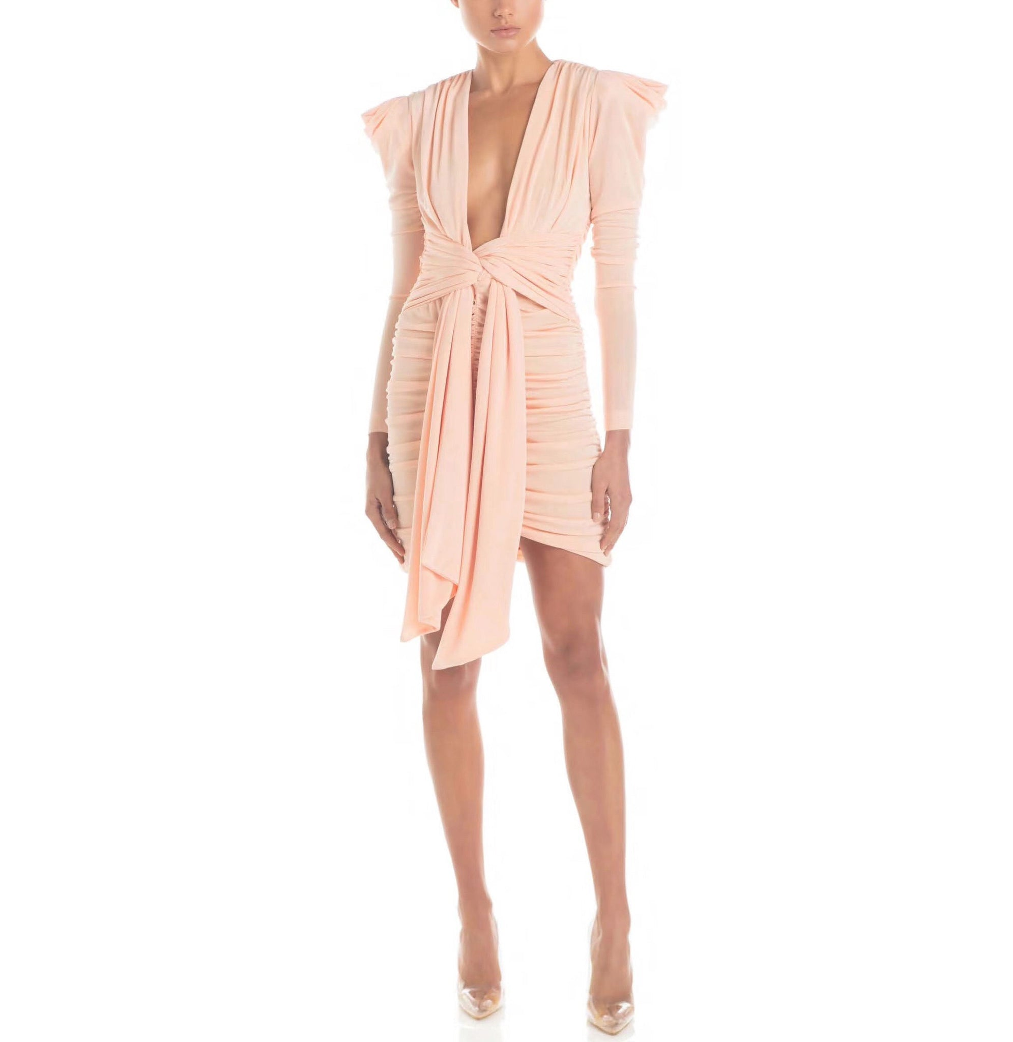 Gwen Pink Mesh Mini Long Sleeve Deep V Neck Dress