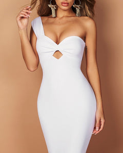 Daria White One Strap Bandage Dress