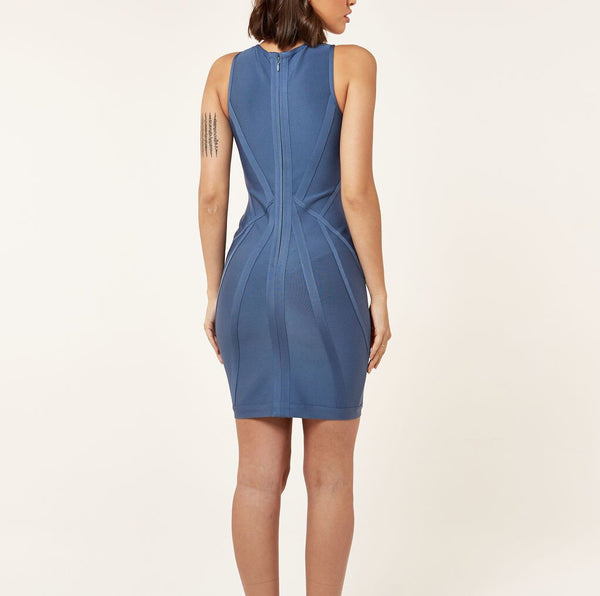 Emerie Blue Mini Structured Bandage Dress