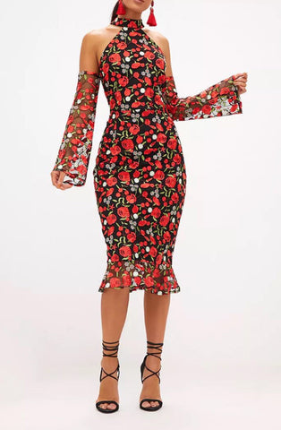 Tezer Red Halter Flower Fishtail Dress
