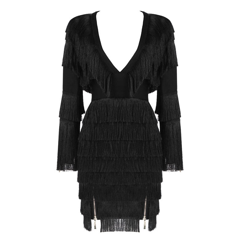 Quinta Black V Neck Long Sleeve Mini Tassels