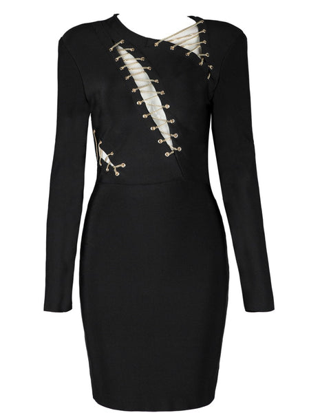 Sherri Black Long Sleeve Bandage Dress