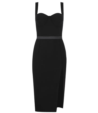 Delilah Black Bustier Strap Midi Dress with High Slit