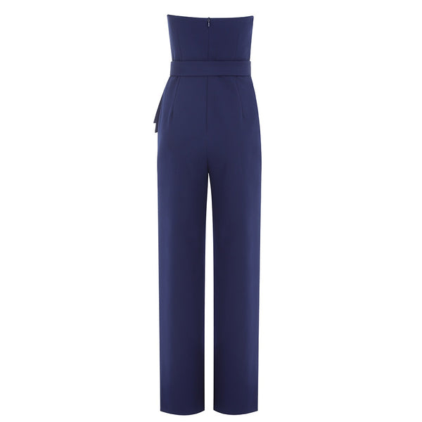Emory Blue Strapless Structured Jumpsuit