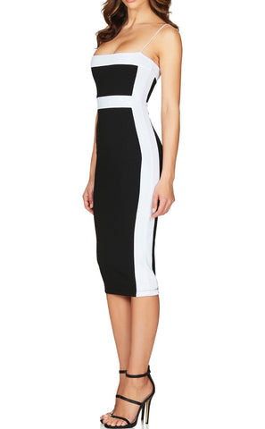 Ailise Black White Spaghetti Strap Bandage Dress