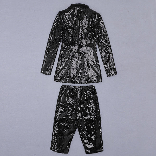 Evelyn Black Long Sleeve Sequin Suit