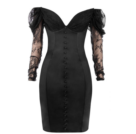 Raina Black Off Shoulder Long Sleeve Mini Lace Dress