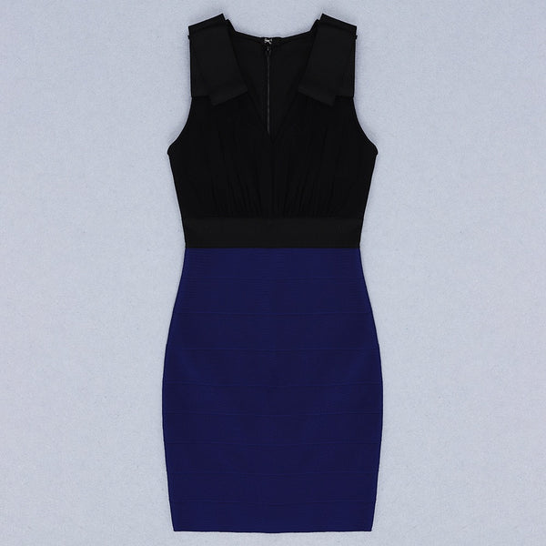 Aretha Black Blue Mini Bandage Dress
