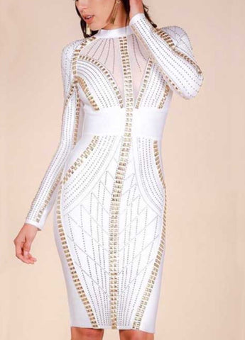 Fariah White Stud Bandage Dress