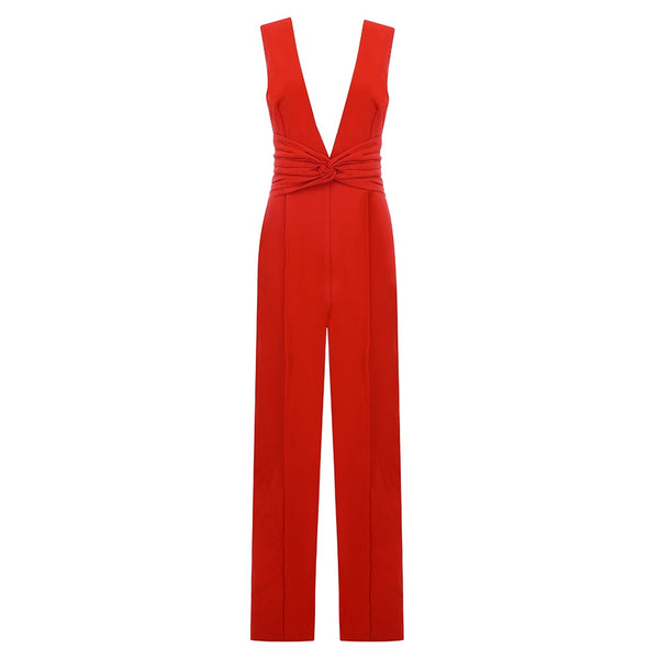 Marissa Red V Neck Front Bowknot Jumpsuit