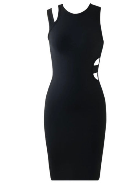 Zoey Black Asymmetric Midi Dress
