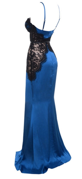 Peggy Black and Blue Stain Lace Dress