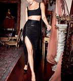 Beccy Black Bandage Crop Top with Mesh Loose Long Skirt