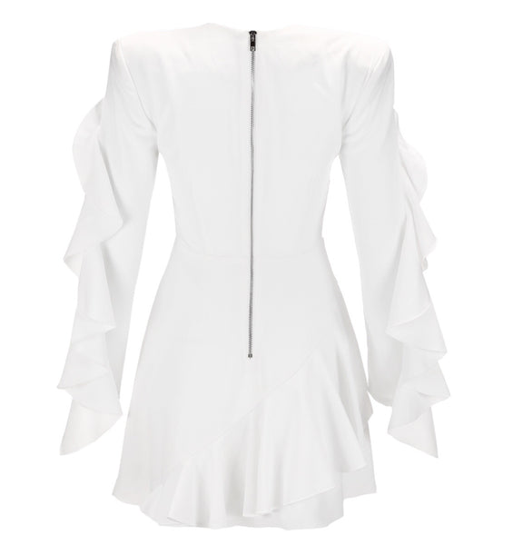 Chrystelle White Long Sleeve Dress
