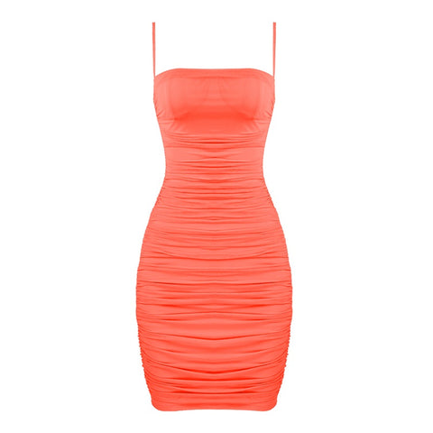 Galia Coral Pink Spaghetti Strap Mini Mesh Dress