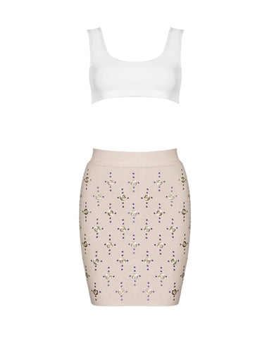 Liza Beige and White Mini Two Piece Set