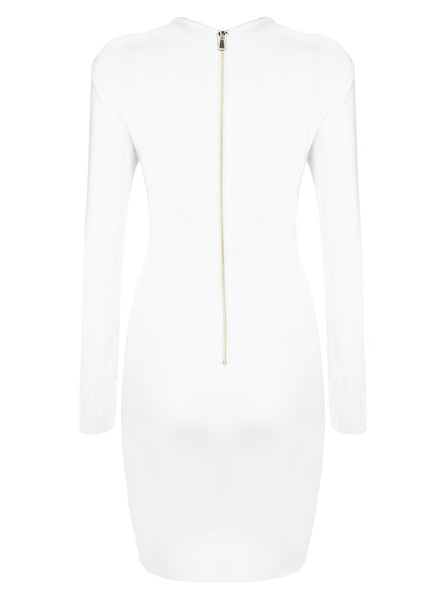 Sherri White Long Sleeve Bandage Dress