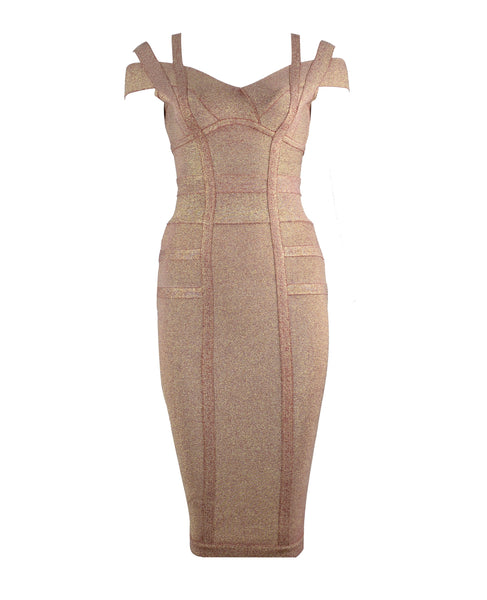 Alma Gold Beige Midi Bandage Dress