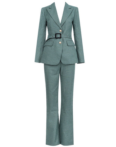 Alani Two Piece Green Plaid Suit Set