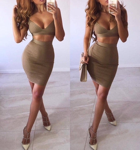 Angie Ribbed Two Piece Bandage Dress