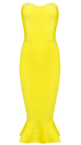 Karen Yellow Mermaid Strapless Dress