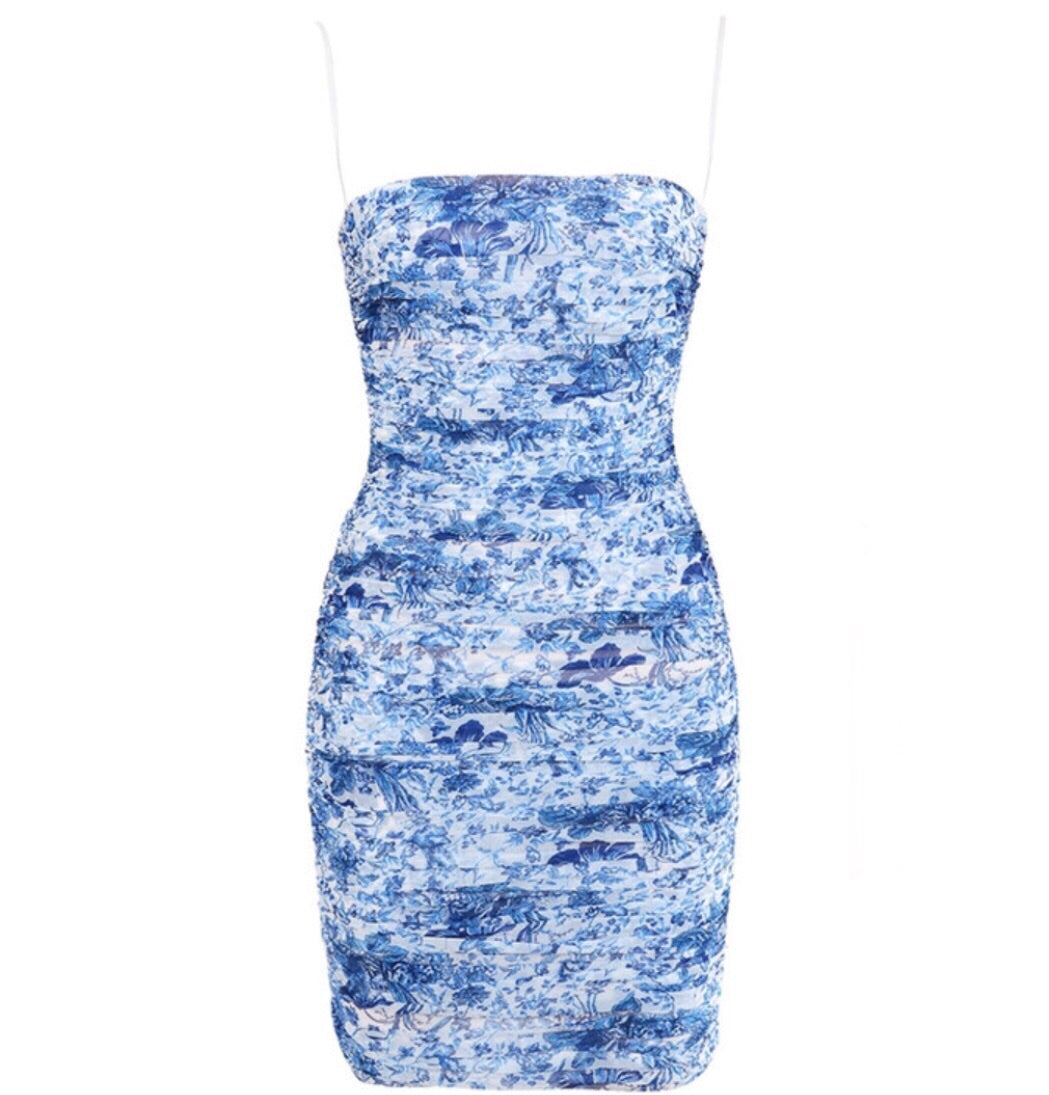 Opal Blue Spaghetti Strap Floral Print Mini Dress
