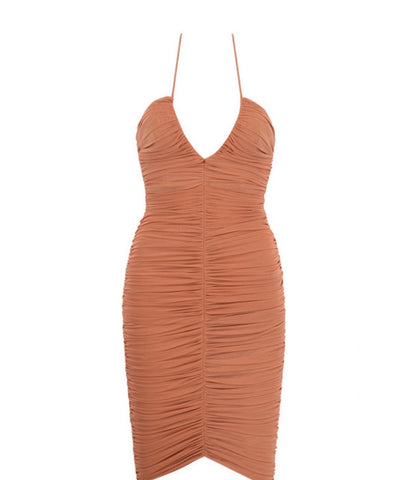 Everly Brown Ruched Mesh Midi Dress