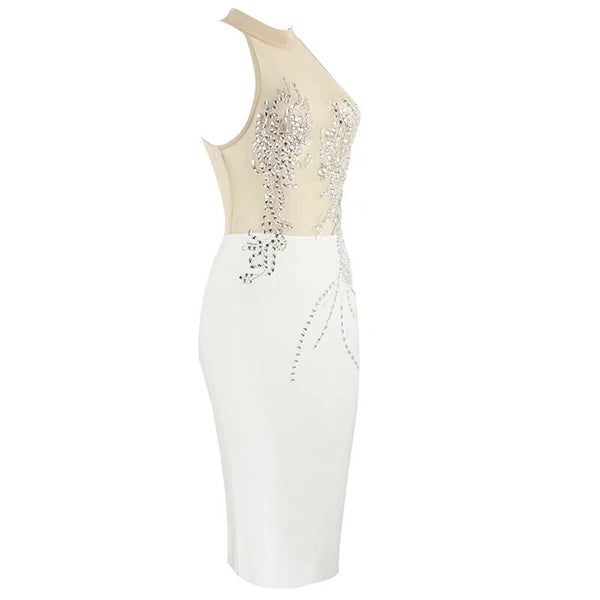 Hosea Halter Bandage Dress with Diamond Front Detail